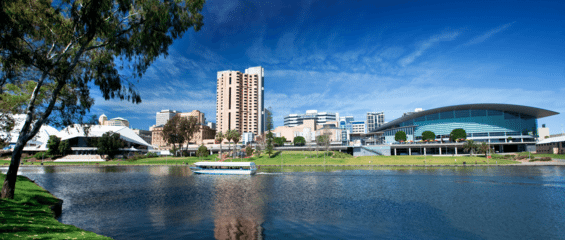 Scenic waterway and city buildings