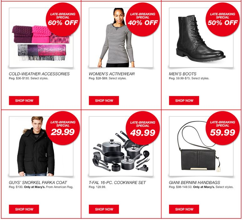 Macy's – One Day Sale With Extra 25% off Clearance + 3% Cash Back