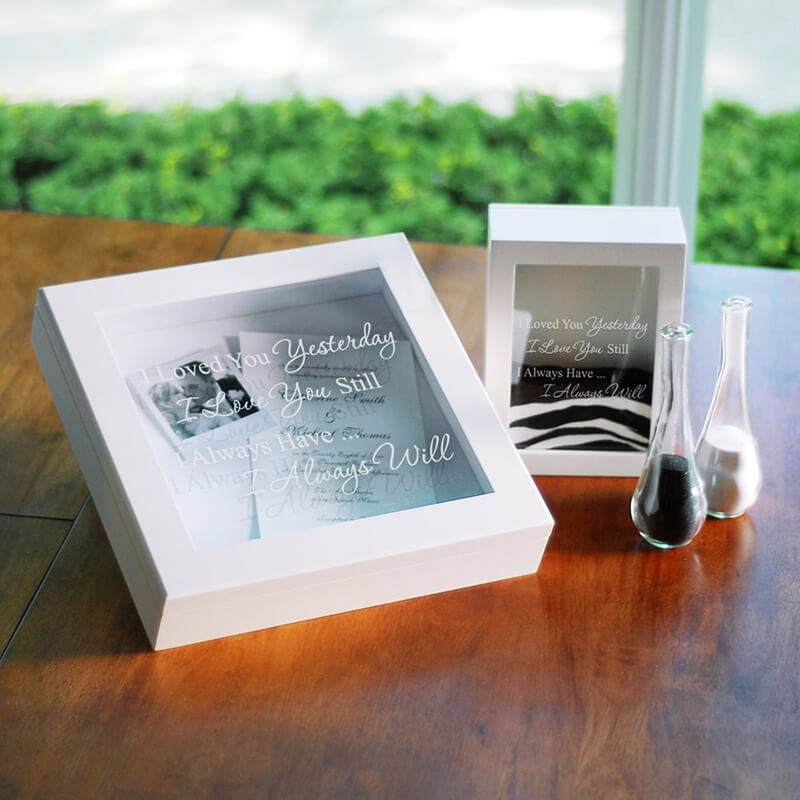 Attractive small glass vases and 2 shadow boxes