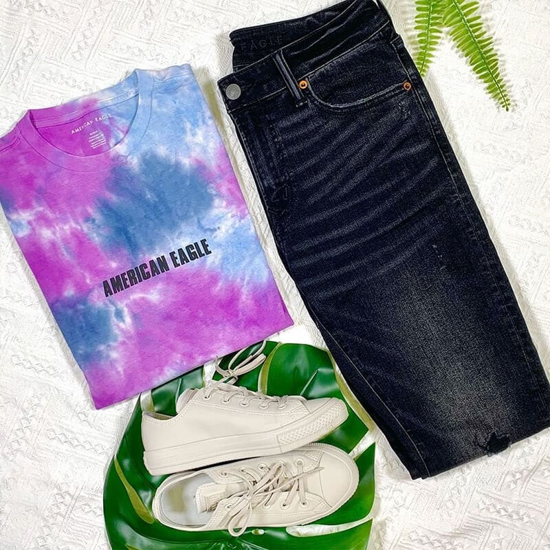 American Eagle blue jeans go green