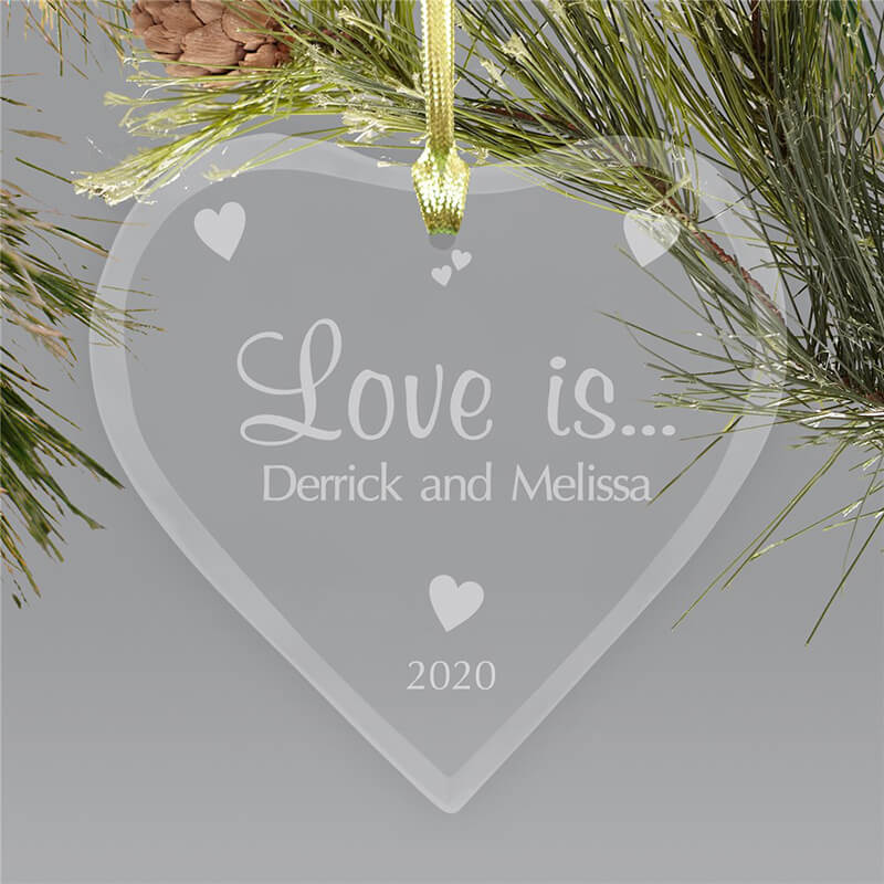 Personalize heart glass ornament