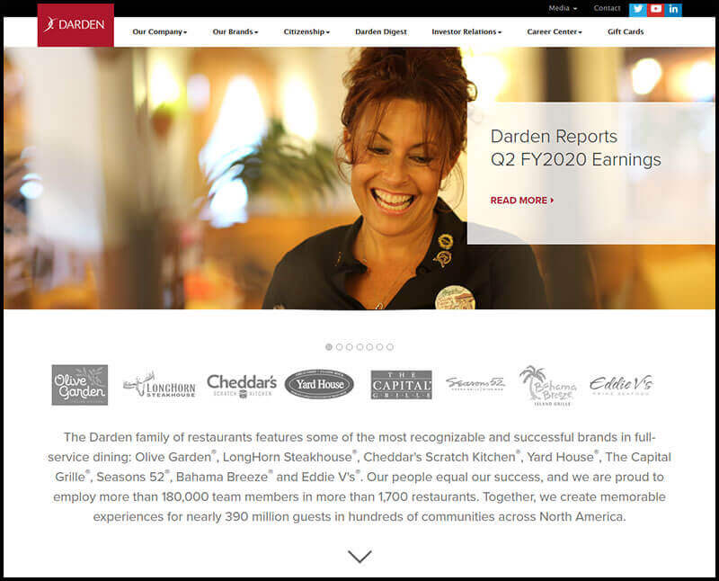 Screenshot of Darden Restaurants home site