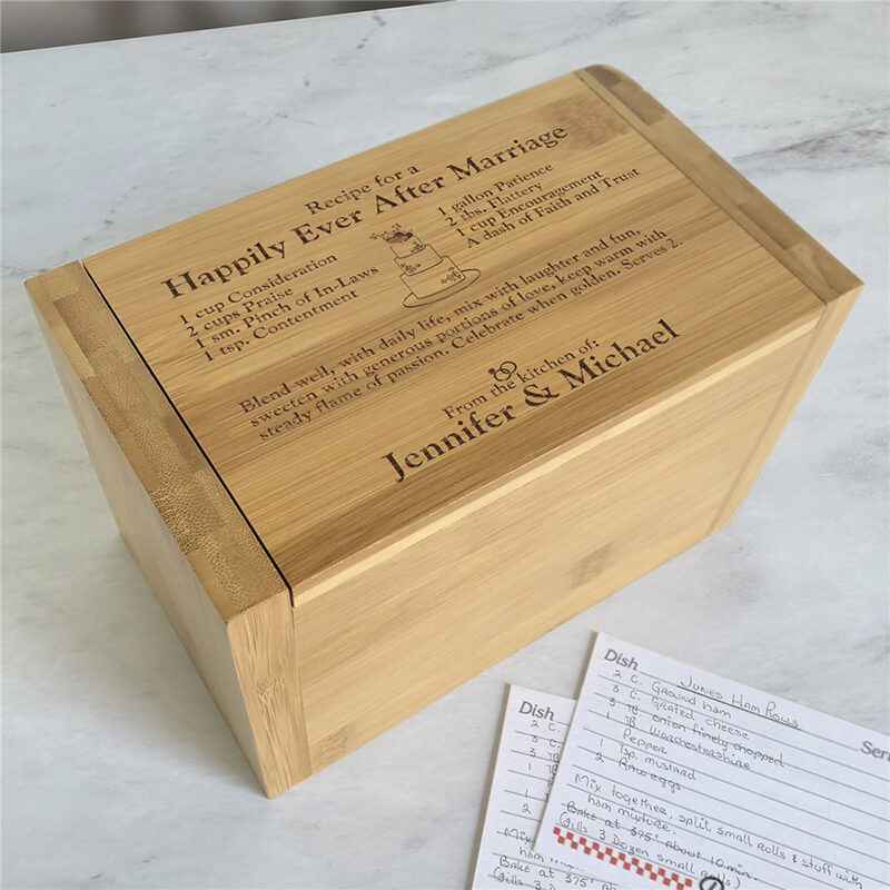 Unique Little recipe box made from bamboo
