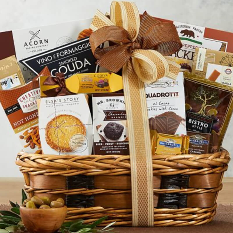 Baskets of gourmet sweets and savory bites