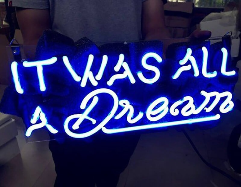 Handmade blue neon sign shine