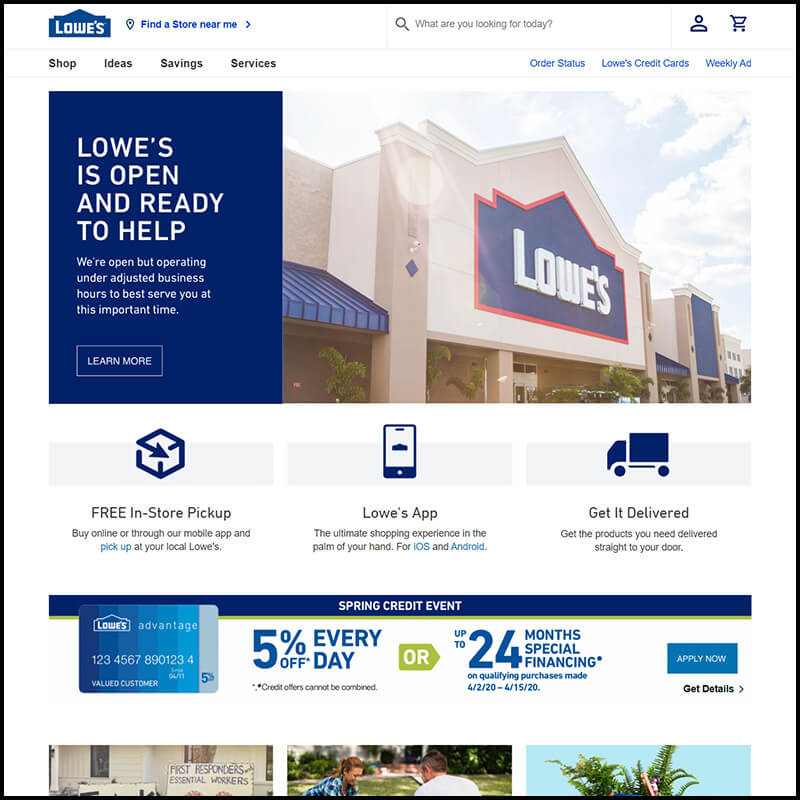lowes home page
