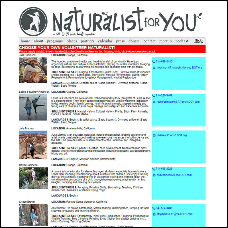 Support and donate to Naturalist for You