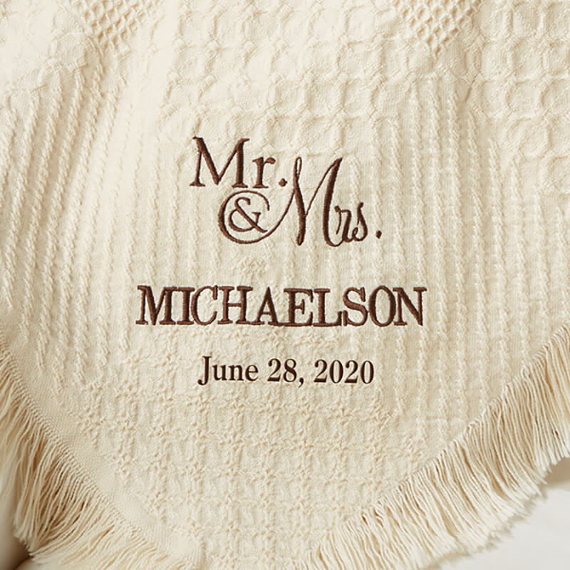 Beautiful personalized couple cotton afghan