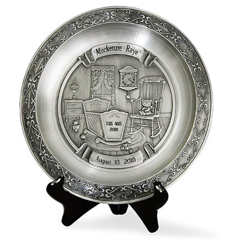 Personalized pewter baby plate