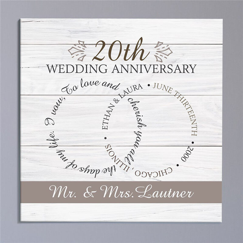 Personalized ring anniversary wall canvas