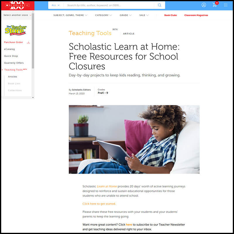 Scholastic Teachers Learn at Home