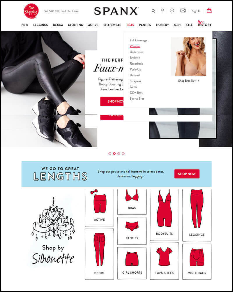 Screenshot of Spanx home site